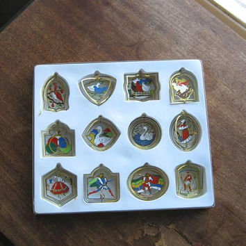 Charming Vintage 12 Days of Christmas Ornament Set; Dimensional Gold-tone Brass-Framed Ornaments; U.S. Shipping Included