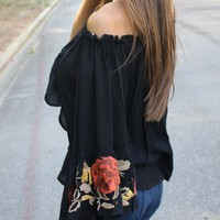 Lilly Embroidered Bell Sleeve - Thirty One Boutique