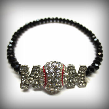 Baseball Mom Rhinestone Stretch Bracelet