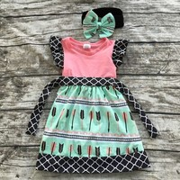 baby girls clothing 2-7 years old pink green arrow Quaterfoil dress with matching accessories