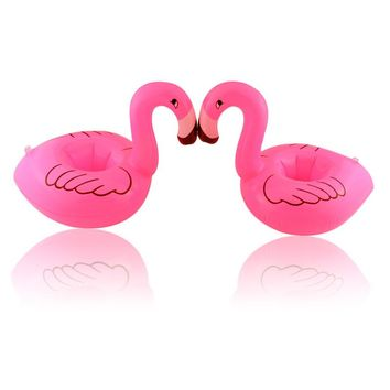 Small size swimming ring Flamingo cup seat  PVC floating cup holder inflatable cup seat coaster beach toy