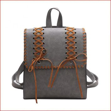 Women Vintage Backpack Retro School Girls Bag Shoelace Knitting PU Leather Backpack Travel Bag Mochila Escolar