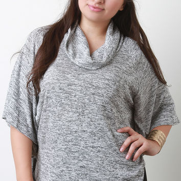 Marl Knit Cowl Neck Poncho Top
