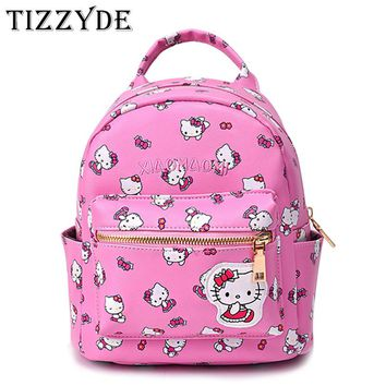 Cute Hello Kitty Mini Children Cartoon School Backpack For Girls Travel Lovely Embroidery Appliques School bags DM46