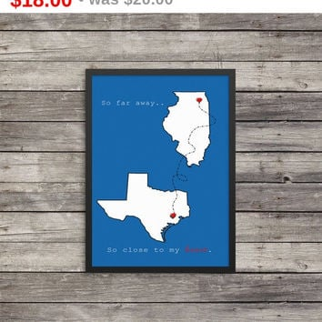 Custom state print   So far away So close to my heart   11x17   Minimalist Poster   Typography   state art