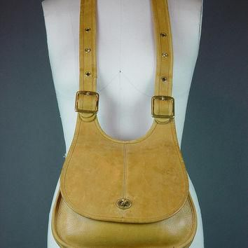 60s Coach Bag Handbag Vintage 1960s NYC Hippie Crescent Crossbody Caramel Tan