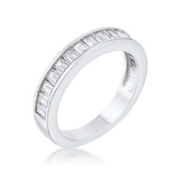 Baguette Cut CZ Rhodium Wedding Band