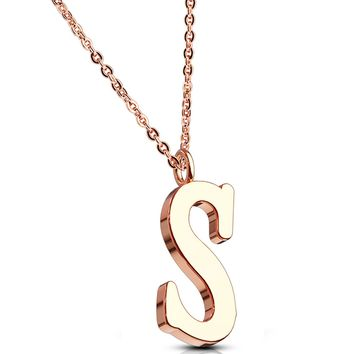 BodyJ4You Necklace Letter S Initial Alphabet Charm S Stainless Steel Rose Goldtone Chain