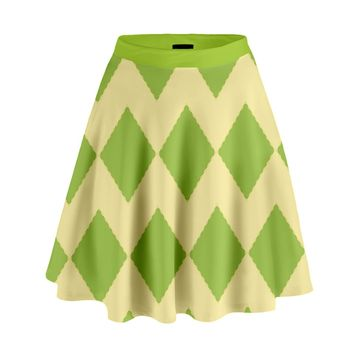 Green Rectangular Pattern High Waist Skirt