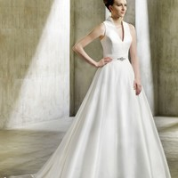A Line V Ncek Floor Length Natural Waist Gown with Taffeta Nova : $194.00 at VikiDress.com.