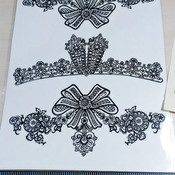 temporary tattoo bowknot and lace wedding tattoo