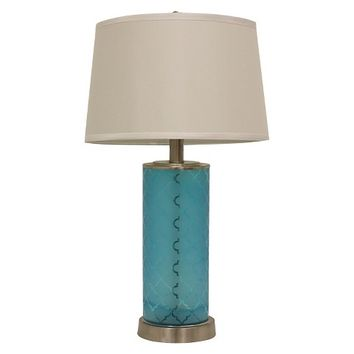 """Quadrafoil Etched Glass Table Lamp - 28.5""""H - Turquoise/Brushed Silver/Cream"""