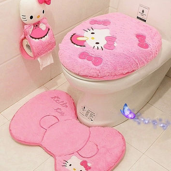 Hello kitty bathroom set toilet set cover wc seat cover bath mat holder closestool lid cover 4pcs/set  Toilet seat cushion