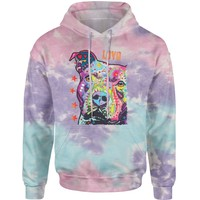 Pitbull Love Graffiti  Tie-Dye Adult Hoodie Sweatshirt