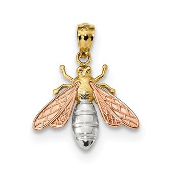 14k Two Tone Gold & White Rhodium 2D Bee Pendant, 17mm (5/8 inch)
