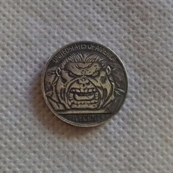 "Hobo Nickel Coin 1915 BUFFALO NICKEL COIN ""THE HULK"" HANDMADE RARE"