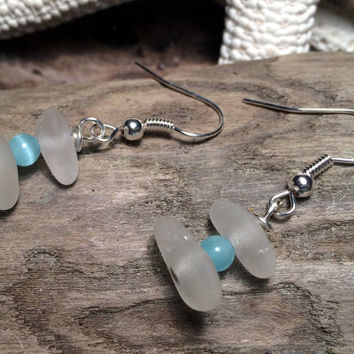 Cat Eye Bead Sea Glass Dangle Earrings Upcycled Jewelry Eco Friendly Lake Erie Beach Glass Nautical Wear