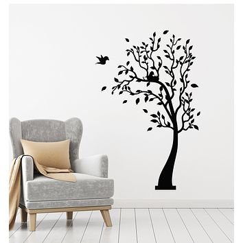 Vinyl Wall Decal Tree Leaves Forest Nature Birds Nest Family Stickers Mural (g2564)
