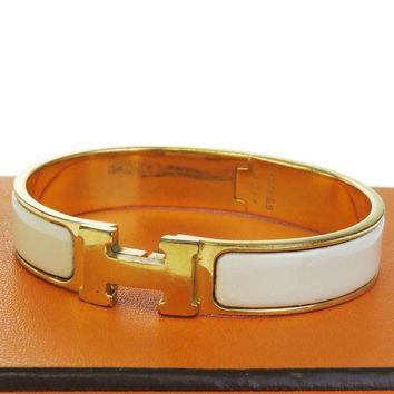Gotopfashion Authentic HERMES H Logo Bracelet Bangle Plastic Gold-tone WT Accessory 09EB068
