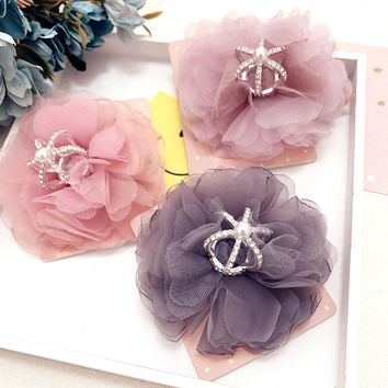 New Lace alloy crown hair clips Princess yarn chiffon flower hair pins bows girls hair accessories duckbill clip ornaments tiara