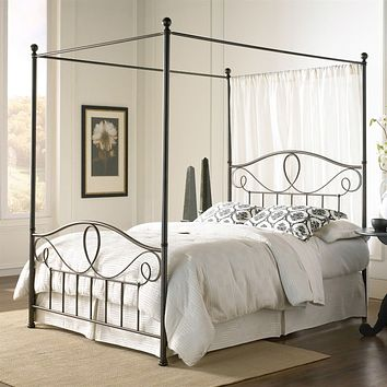 Full size Complete Metal Canopy Bed with Scroll-work and Ball Finials