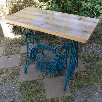 Entryway Table Singer Sewing Machine Base - Pine Reclaimed Wood Top Rustic Barn Wood Upcycled Table Hall Sofa Desk Stand Turquoise Furniture