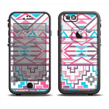 The Vector Pink & White Modern Aztec Pattern Apple iPhone 6 LifeProof Fre Case Skin Set