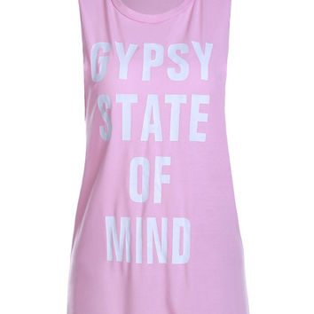 "Pink ""GYPSY STATE OF MIND"" Laced Hem Tank Top"