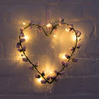 Fairy Light Rose Bud Heart Wreath - vintage pink