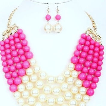 Hot pink N White Glass Pearl 5 Layered Strand Bead Chunky Necklace N Earring set