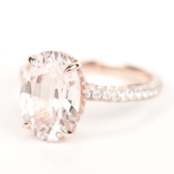 Gia Certified Huge Peach Pink Shire Diamond Halo Eng