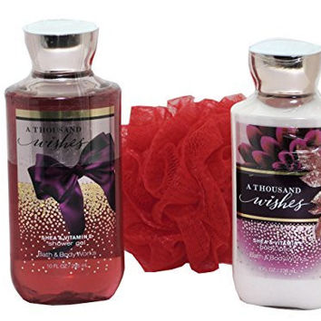 Bath & Body Works Signature Collection A Thousand Wishes Gift Set - Bundle - 3 items: Body Lotion, Shower Gel, and Shower Sponge