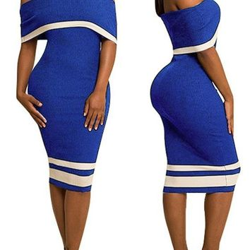 Sapphire Blue Striped Backless Off Shoulder Short Sleeve Bodycon Party Midi Dress