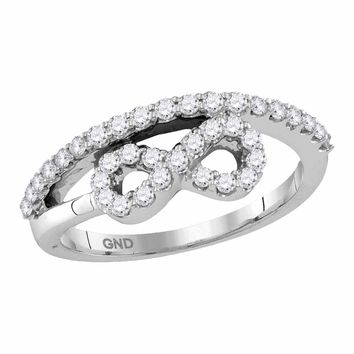 10kt White Gold Womens Round Diamond Woven Infinity Band Ring 1/2 Cttw