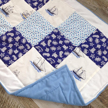 Nautical blanket , Personalized baby boy quilt, Homemade quilt nautical crib bedding, Personalized crib quilt, Baby boy personalized blanket
