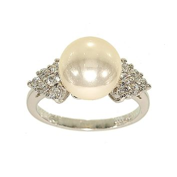 Cocktail Ring | 10mm Imitation Pearl Silvertone | Triangle Sides Set with Tiny Cubic Zirconia Stones