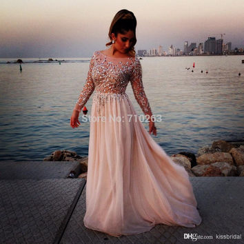 Robe de soiree New Long Prom Dresses 2016 Boat Neck Long Sleeves Floor Length A-Line Beading Sequined Chiffon Evening Dress