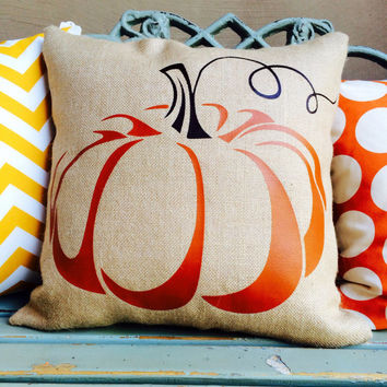 FALL decor burlap pumpkin pillow slipcover only with burnt orange pumpkin and brown curly stem