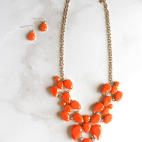 Game Plan Necklace and Earring Set in Orange