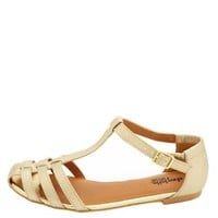 Flat T-Strap Huarache Sandals by Charlotte Russe - Gold