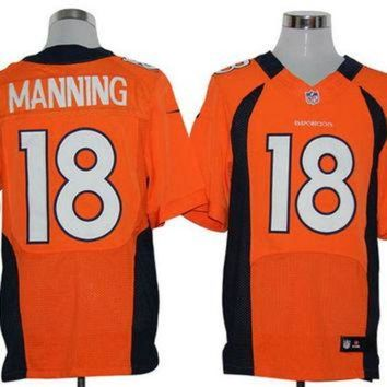 ICIKU3N Nike Broncos #18 Peyton Manning Orange Team Color Mens NFL Elite Jersey
