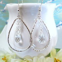 Silver hoop Swarovski crystal tear drop earrings