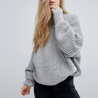 Pull&Bear High Neck Ribbed Sweater at asos.com