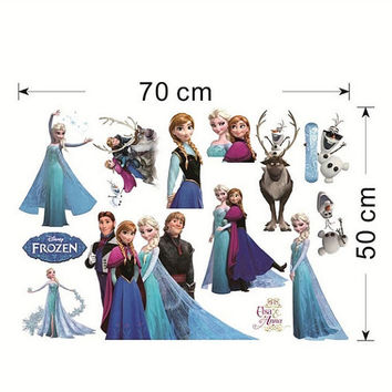 Frozen Movie Wall Decal Stickers Kids Room Cartoon Decals Art Anna Elsa Kristoff Hans Sven Children