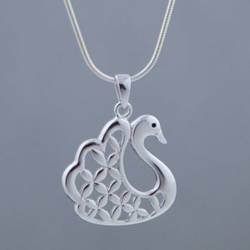 Flower of Life Sterling Silver Swan Pendant