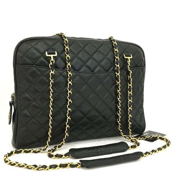 CHANEL Quilted Matelasse Lambskin CC Logo Chain Shoulder Tote Bag Black /m166