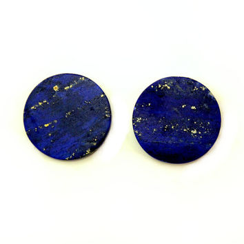 Natural Lapis Lazuli Stone 18 mm Magnetic Non Pierced Clip On Earrings With Free Pair Of Extra Backs