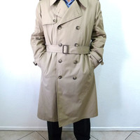 Vintage Coat London Fog Men's Trench Coat Double Breasted 42 Reg Large