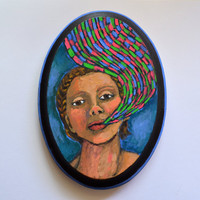 Hand Painted Wood Oval Woman with Whimsical by RenaissanceDays