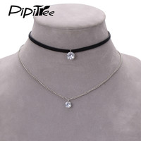 2017 New Arrival Trendy Leather Choker Necklace with Crystal Charm Layer Necklaces & Pendants for Women Girls Gothic Collier
